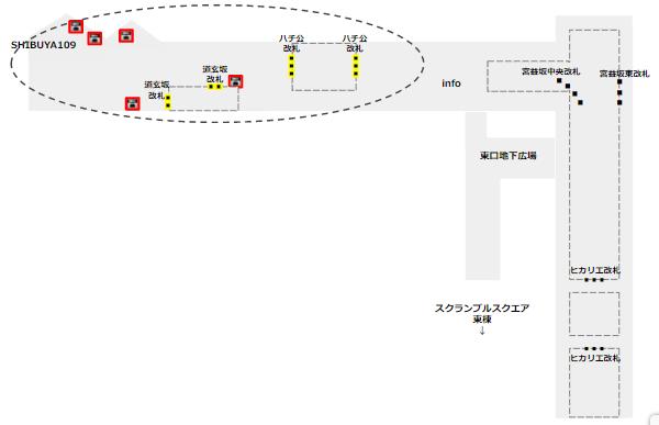 渋谷駅ロッカー(半蔵門/田園都市線改札近く)