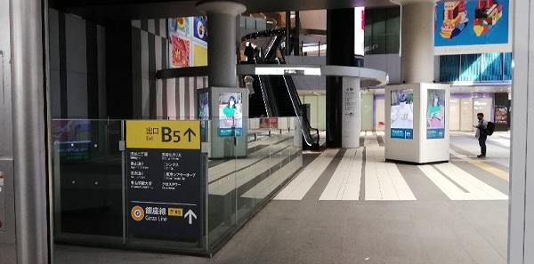 渋谷駅のB5出口とヒカリエ連結部分