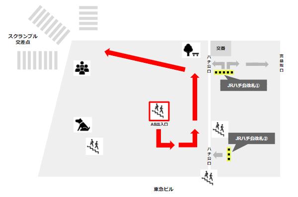 渋谷駅A8出入り口からスクランブル交差点へ