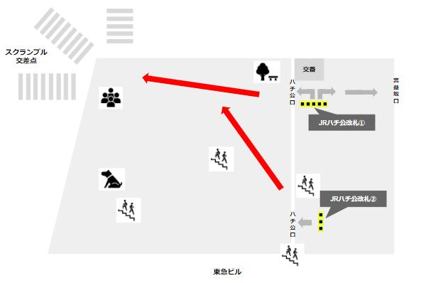渋谷駅ハチ公改札からスクランブル交差点へ
