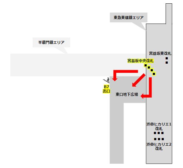 渋谷駅東口地下広場マップ