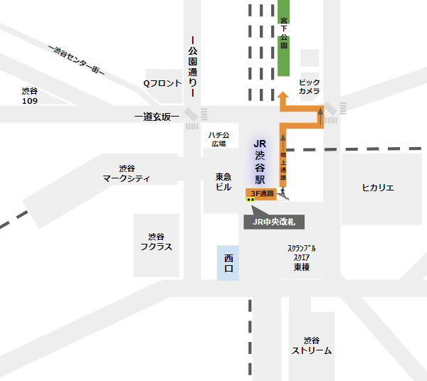 渋谷ミヤシタパークへの行き方経路(JR中央改札から)