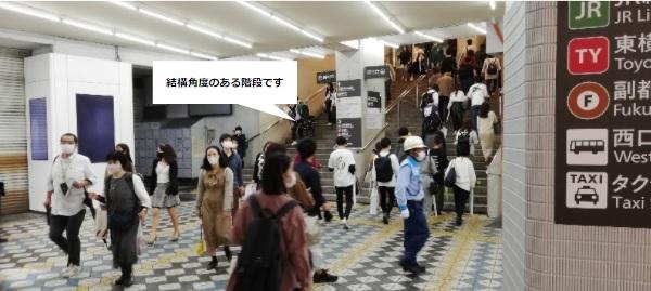 渋谷駅JR中央改札前の急階段