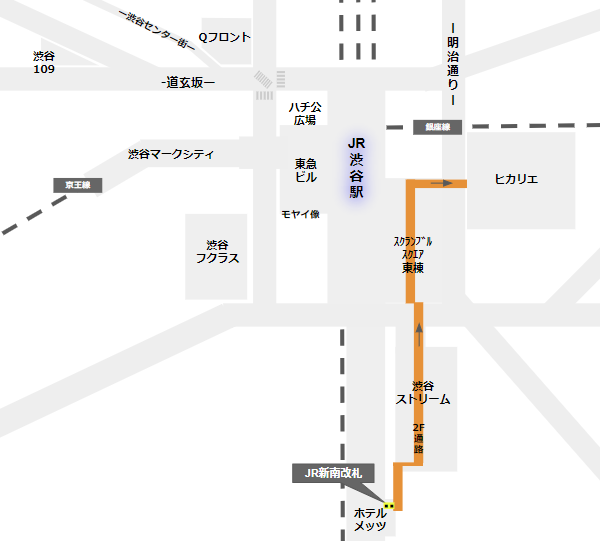 渋谷ヒカリエへの行き方(JR線新南改札からの経路)