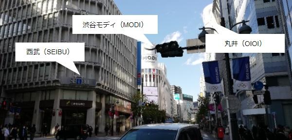 渋谷SEIBU、モディ、丸井位置関係