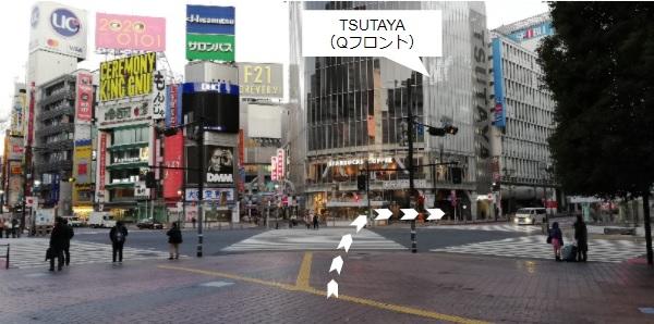 渋谷スクランブル交差点、TSUTAYA前