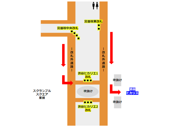 ヒカリエ地下経路(東急東横副都心線)