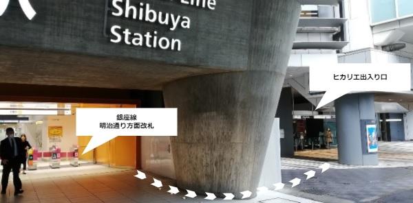ヒカリエ行き方(銀座線明治通り改札前)