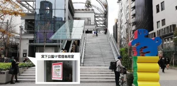 渋谷宮下公園1Fの喫煙専用室