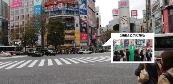 渋谷スクランブル交差点の公衆喫煙所の場所