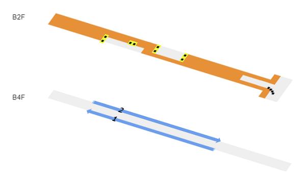 半蔵門/田園都市線の構内図(ホーム階層図)