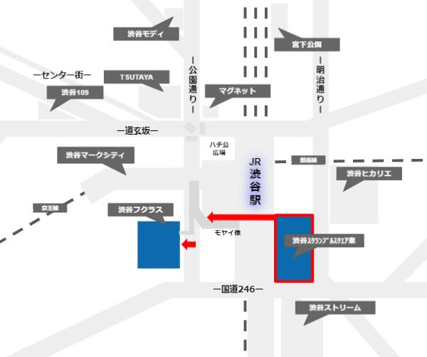 渋谷スクランブルスクエアからフクラス(東急プラザ)の経路