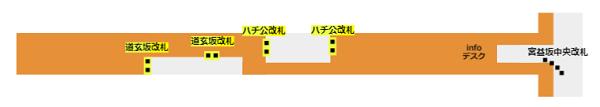半蔵門/田園都市線の改札の位置