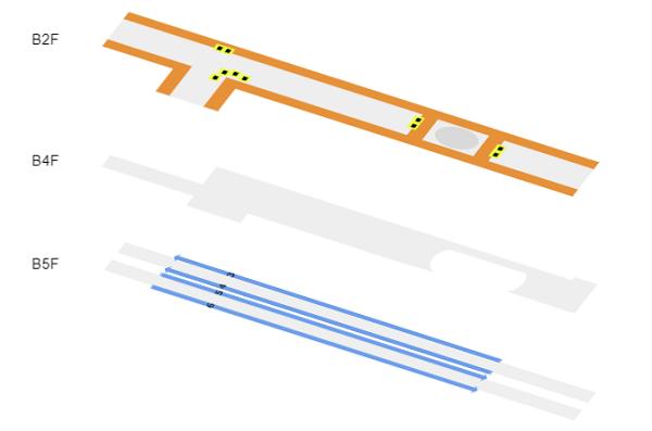 東急東横/副都心渋谷駅の構内階層図
