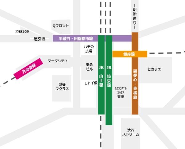 渋谷駅の5路線の位置関係マップ