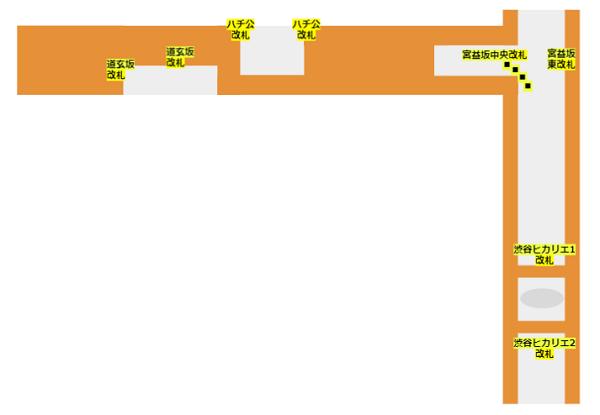 半蔵門/田園都市線と東横副都心線の改札マップ