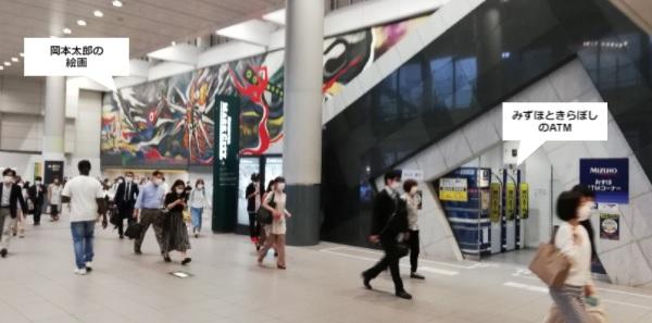 京王井の頭線の改札近くのATM(みずほときらぼし銀行)の場所