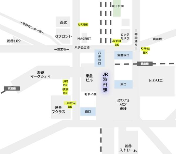 渋谷駅周辺の銀行支店の場所