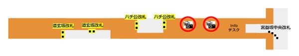 渋谷駅半蔵門線改札前の証明写真機の場所