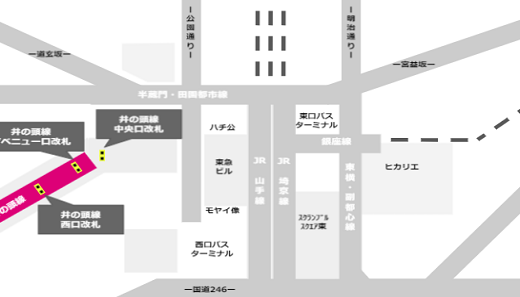 京王井の頭線渋谷駅の構内マップ