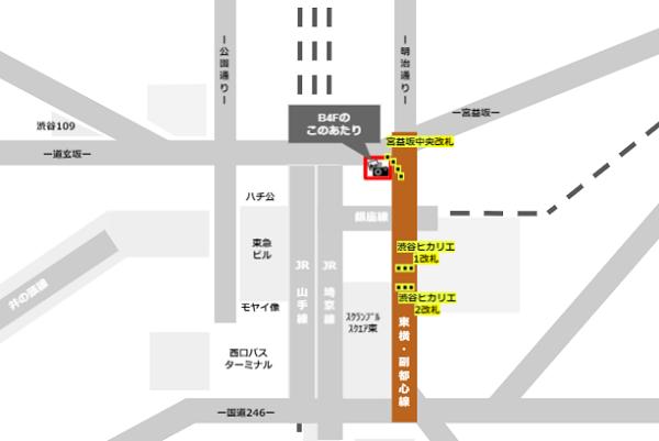 東急東横/副都心線の改札内(B4F)にある証明写真機の場所