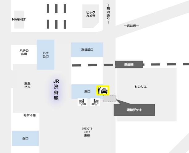 渋谷駅東口のタクシー乗場の場所