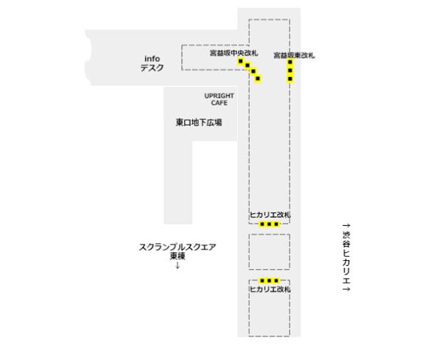 東横副都心線渋谷駅の構内図(改札の位置関係)
