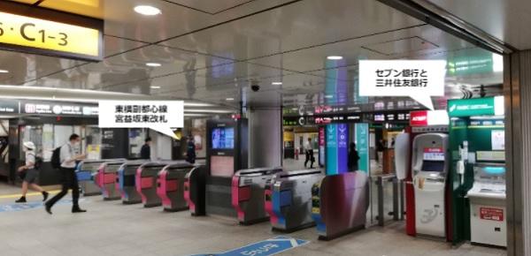 東横副都心線-渋谷駅のATMの場所